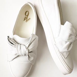 Nine West Leather Bow Sneakers